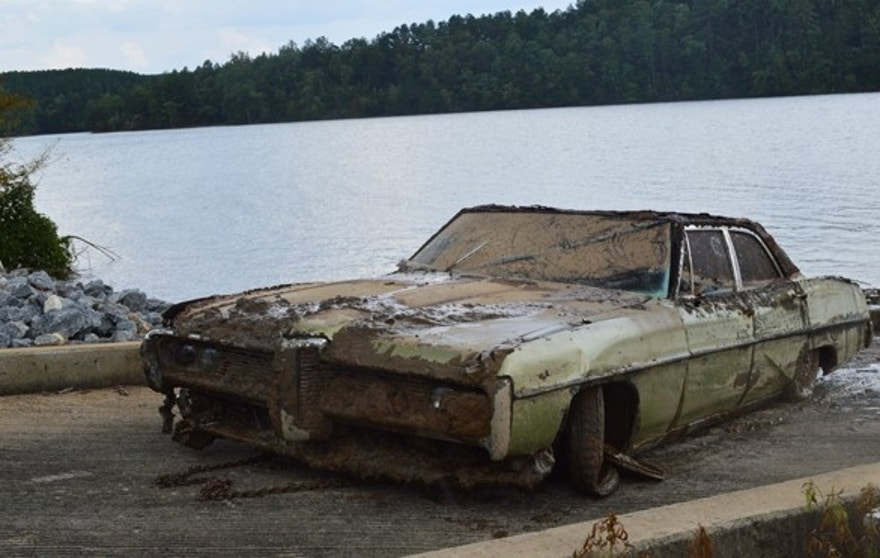 This photo, released by the Caldwell County Sheriff's Department, shows the car authorities pulled from a North Carolina lake in their investigation into a 43-year-old missing persons case.