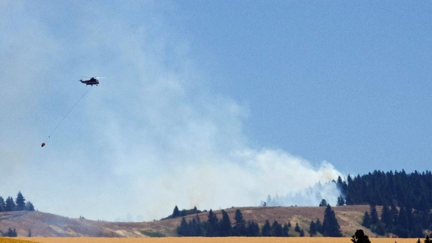 A firefighting helicopter leaves to dip water from Bennington Lake east of Walla Walla, Wash., Tuesday afternoon, July 21, 2015. Walla Walla County Commissioners have declared a state of emergency due to a wildfire that's destroyed one home and was threatening dozens of others. (Greg Lehman/Walla Walla Union-Bulletin via AP)