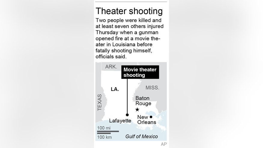 Graphic locates site of movie theater shooting in Louisiana; 1c x 3 inches; 46.5 mm x 76 mm;