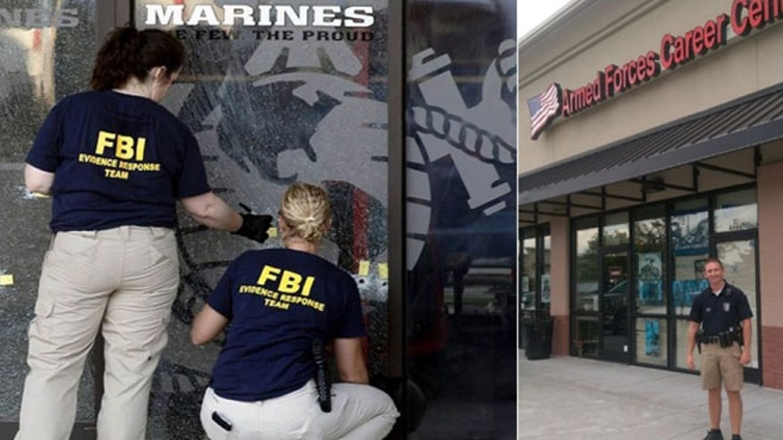 After the attack on a Chattanooga recruiting center last week, (l.), which preceded the deadly rampage at a nearby base, Police Officer Bobby Ruth stands guard at a center in nearby Cleveland, Tennessee.