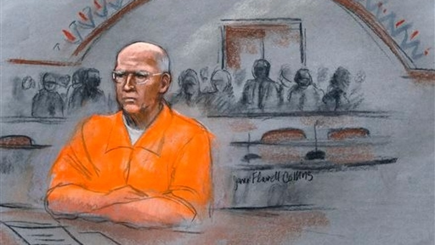 "In this courtroom sketch, James ""Whitey"" Bulger sits at his sentencing hearing in federal court in Boston, Wednesday, Nov. 13, 2013. Bulger was convicted in August in a broad indictment that included racketeering charges in a string of murders in the 1970s and '80s, as well as extortion, money-laundering and weapons charges. A federal appeals court in Boston is set to hear arguments Monday, July 27, 2015 on Bulgers bid to overturn his racketeering convictions. Bulger will not be present for the proceedings. (Jane Flavell Collins via AP, File)"