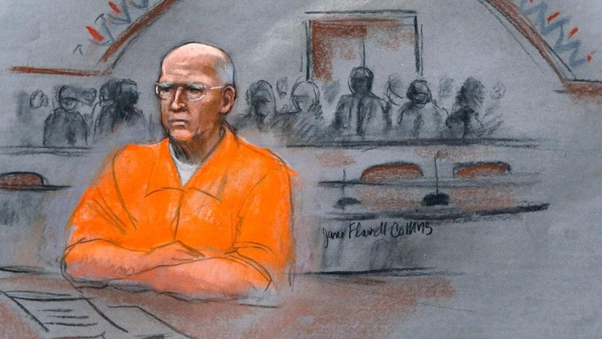 "In this courtroom sketch, James ""Whitey"" Bulger sits at his sentencing hearing in federal court in Boston, Wednesday, Nov. 13, 2013. Bulger was convicted in August in a broad indictment that included racketeering charges in a string of murders in the 1970s and '80s, as well as extortion, money-laundering and weapons charges. A federal appeals court in Boston is set to hear arguments Monday, July 27, 2015 on Bulger's bid to overturn his racketeering convictions. Bulger will not be present for the proceedings. (Jane Flavell Collins via AP, File)"