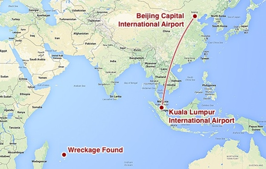This map shows the intended route of MH370 and the area that plane debris was found in on Wednesday. MH370 was less than an hour into its flight from Kuala Lumpur to Beijing when it disappeared from radar. Investigators believe it veered off course and went missing somewhere in the southern Indian Ocean.