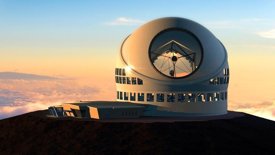 FILE - This undated file artist rendering made available by the TMT Observatory Corporation shows the proposed Thirty Meter Telescope, planned to be built atop Mauna Kea, a large dormant volcano in Hilo on the Big Island of Hawaii in Hawaii.  Seven people protesting a giant telescope atop Mauna Kea have been arrested, early Friday, July 31, 2015,  for defying an emergency rule created to prevent camping on the mountain that is held sacred by Native Hawaiians.  (AP Photo/TMT Observatory Corporation, File) NO SALES; MANDATORY CREDIT