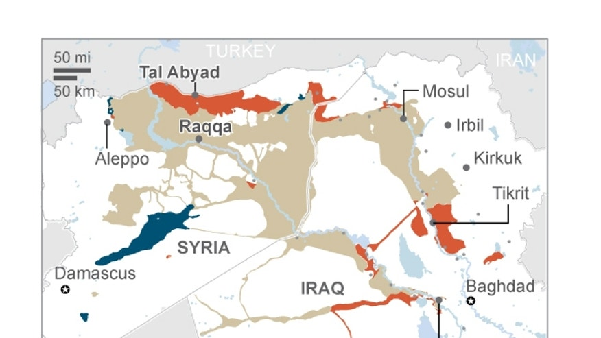 Map shows the spread of the Islamic State; 2c x 3 inches; 96.3 mm x 76 mm;