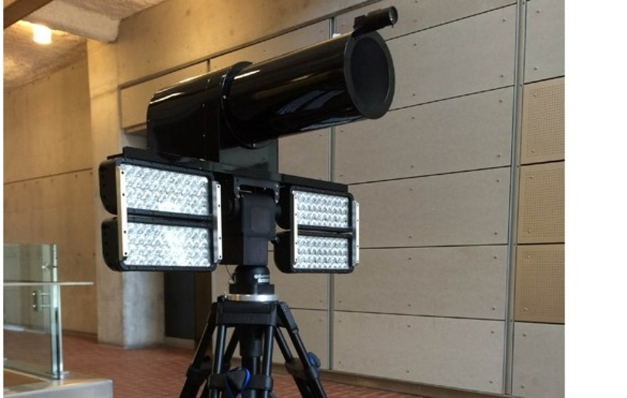 This photo shows the long-range iris camera developed by researchers at Carnegie Mellon.