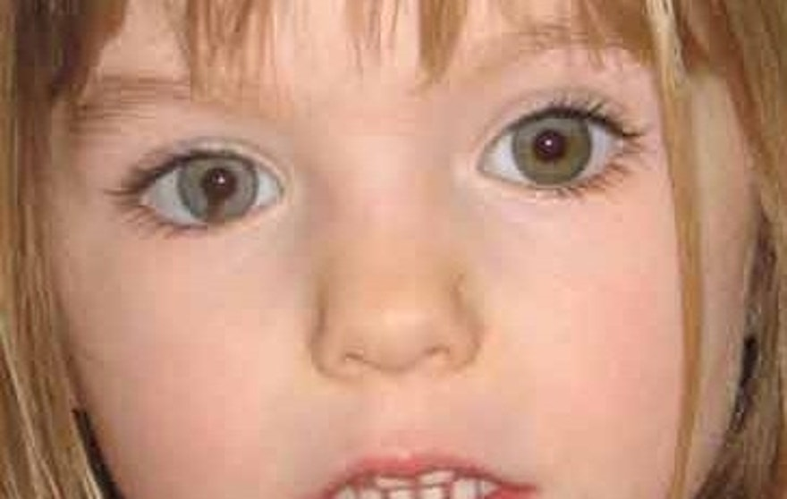 "Missing British toddler Madeleine McCann is seen here in a 2007 photo that seeks to bring attention to the distinctive dark ""smudge"" within the iris of her right eye."