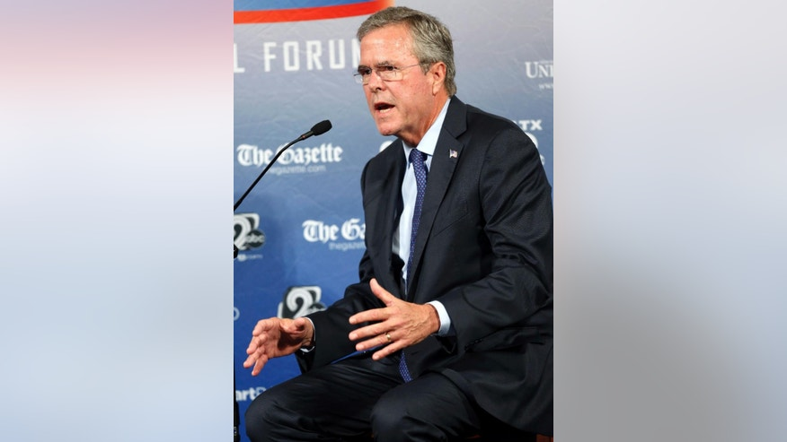 Republican presidential candidate former Florida Gov. Jeb Bush speaks during a forum Monday, Aug. 3, 2015, in Manchester, N.H. (AP Photo/Jim Cole)