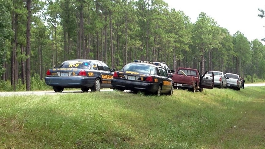 Law enforcement vehicles from several agencies surround the pickup truck  belonging to a person of interest detained by MBI  agents after shots were reportedly fired a second consecutive day near Camp Shelby, a military training facility near Hattiesburg, Miss., Wednesday, Aug. 5, 2015. There were no reported injuries. (AP Photo/Jeff Amy)