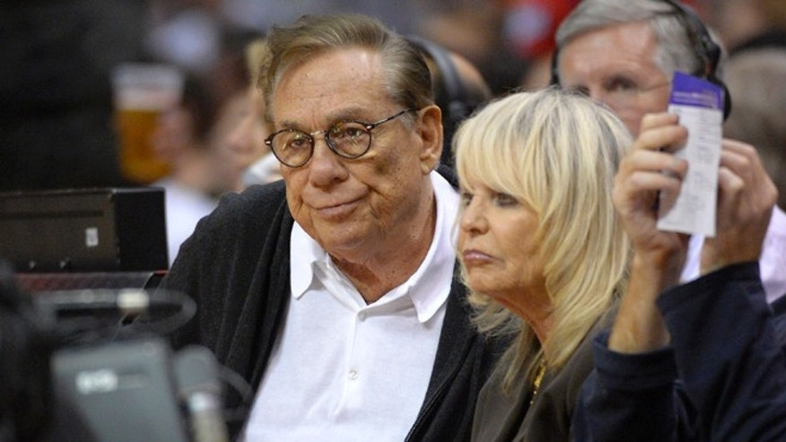 Nov. 7, 2012: Los Angeles Clippers owners Donald Sterling, left, and his wife Shelly Sterling watch the Clippers play the San Antonio Spurs during an NBA basketball game in Los Angeles.