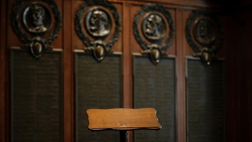 The lectern President Abraham Lincoln used to deliver the Gettysburg Address is seen before a news conference at The Union League of Philadelphia, Friday, Aug. 7, 2015, in Philadelphia. Pope Francis will use the lectern when he speaks outside Philadelphia's Independence Hall in September. (AP Photo/Matt Slocum)