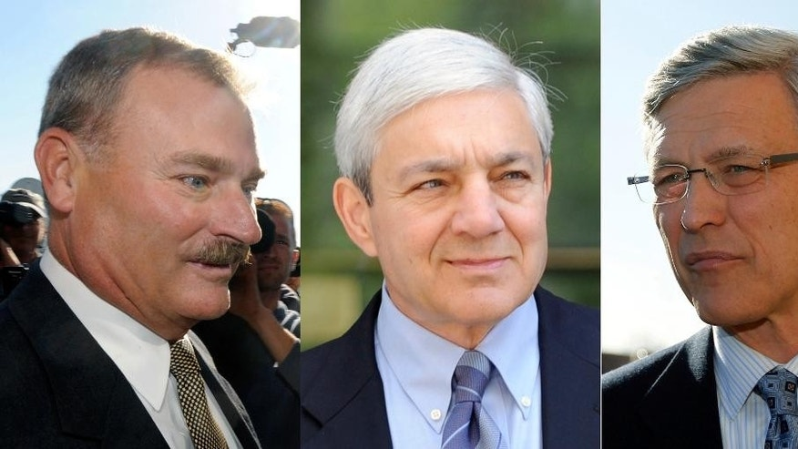 FILE - This file combination photo shows former Penn State Vice President Gary Schultz, left, former Penn State Director of Athletics Tim Curley, right, and former Penn State president Graham Spanier, center, in Harrisburg, Pa. The criminal case against the three former high-ranking Penn State administrators is headed to a Pennsylvania appellate courtroom, Tuesday, Aug. 11, 2015, nearly four years after two of them were first charged. A decision against them could clear the way for trial. (AP Photos/File)