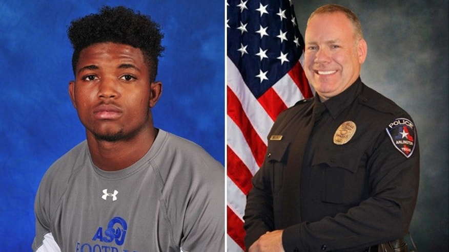This photo provided by Angelo State University shows Christian Taylor (left) and (right) Arlington Police Department officer Brad Miller.