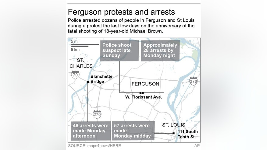 POLICE UPDATE ARRESTS NUMBERS: Map locates events in Ferguson, MO.; 2c x 3 inches; 96.3 mm x 76 mm;