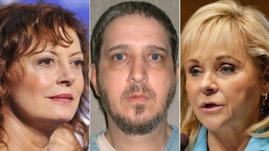 Richard Glossip, center, is scheduled to be executed on Sept. 16 for the 1997 murder of his boss. Actress Susan Sarandon, left, is calling on Oklahoma Gov. Mary Fallin, right, to delay the execution so that Glossip's lawyers can present new evidence in the case.