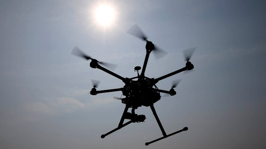 June 11, 2015: A hexacopter drone is flown in Cordova, Md.