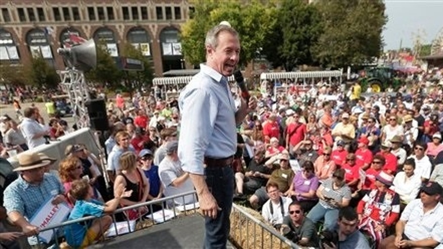 Democratic presidential candidate, former Maryland Gov. Martin O'Malley, speaks at the Iowa State Fair Thursday, Aug. 13, 2015, in Des Moines. (AP Photo/Charlie Riedel)