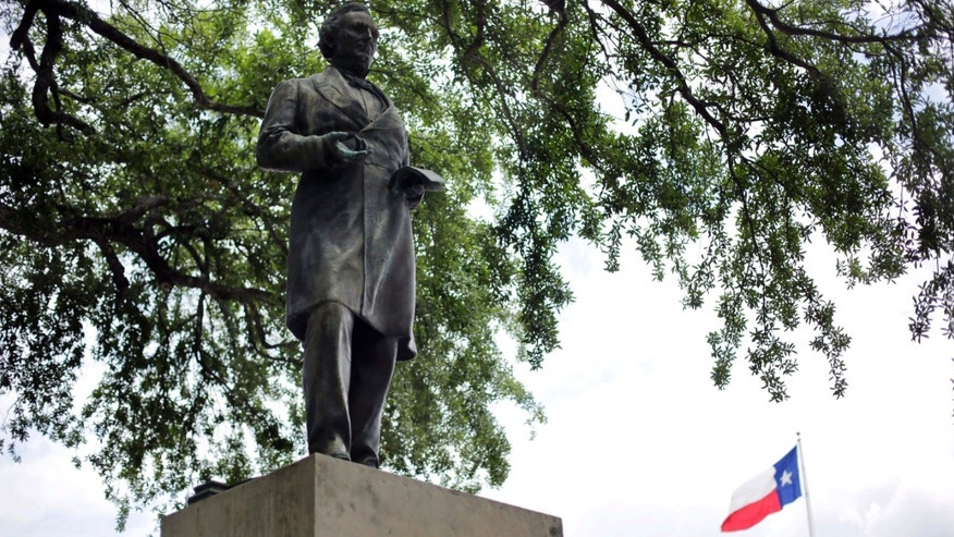 May 5, 2015: A statue of Jefferson Davis is seen on the University of Texas campus in Austin, Texas.