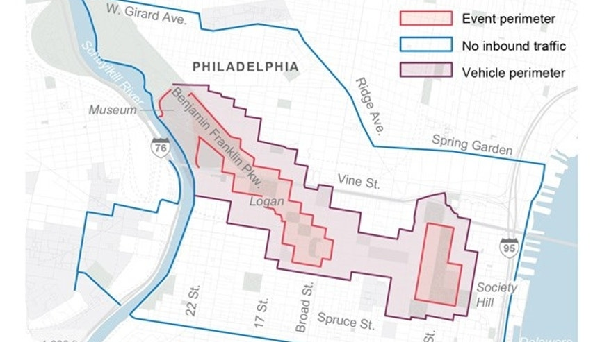 HOLD FOR RELEASE WITH STORY SUNDAY AUG. 16: Map shows security zone for the Pope's visit.; 2c x 3 inches; 96.3 mm x 76 mm;