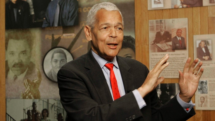 Oct. 13, 2006:  Julian Bond, chairman of the Board for The National Association for the Advancement of Colored People, gestures as he talk to the media about the organization at The University of South Carolina in Columbia, S.C.
