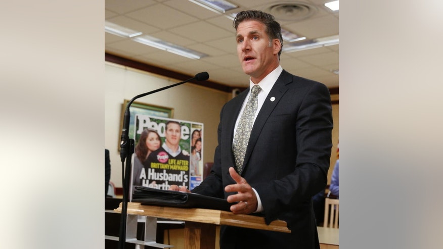 Dan Diaz, the husband of Brittany Maynard, the California woman with brain cancer who moved to Oregon to legally end her life last fall, discusses his support to the reintroduction of right to die legislation during a news conference Tuesday, Aug. 18, 2015, in Sacramento,Calif.  The measure, by Assemblywoman Susan Talamantes Eggman, D-Stockton, Bill Monning, D-Carmel, Sen. Lois Wolk, D-Davis, and other lawmakers, would allow terminally ill patients to take life ending drugs.  A nearly identical bill failed to get out of a legislative committee earlier this year. (AP Photo/Rich Pedroncelli)