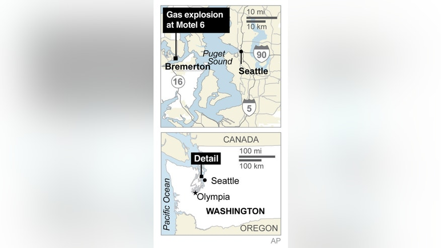 Map locates Bremerton, Washington, where a gas explosion partially demolished a Motel 6. ; 1c x 3 inches; 46.5 mm x 76 mm;