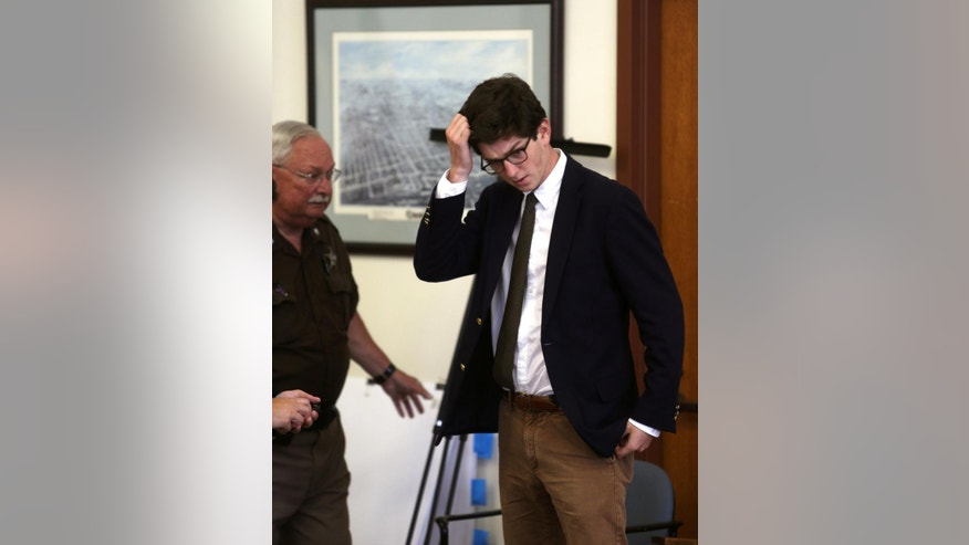 "Defendant Owen Labrie enters the courtroom at the start of the second day of his trial at Merrimack County Superior Court in Concord, N.H., Wednesday, Aug. 19, 2015. Labrie is accused of raping a 15-year-old freshman as part of the ""Senior Salute,"" a practice of sexual conquest at the prestigious St. Paul's School in Concord.   (Geoff Forester/The Concord Monitor via AP, Pool)"