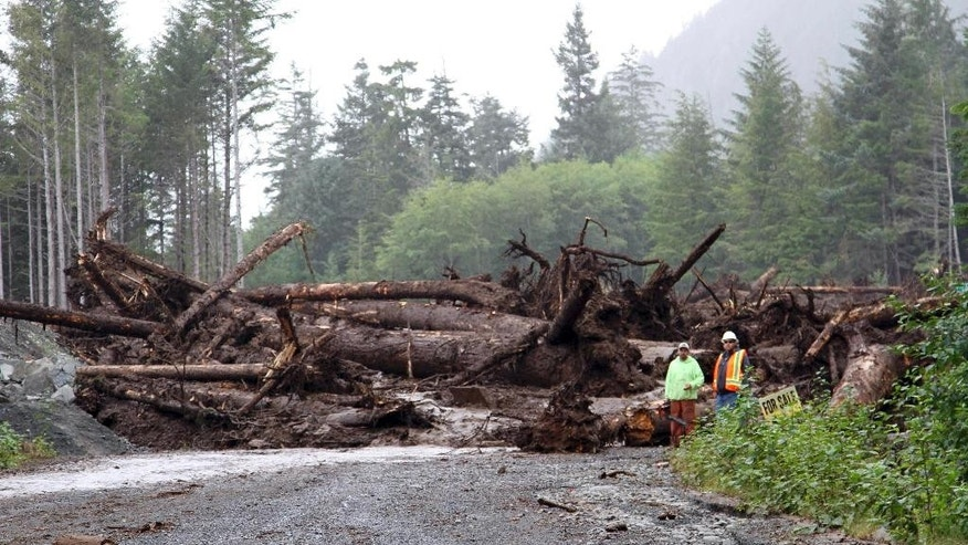 In this photo provided by the Sitka Public Information Office, emergency personnel survey landslide damage in Sitka, Alaska, on Wednesday, Aug. 19, 2015, a day after six landslides occurred in the coastal town, burying three men who are presumed dead. Responders were cautiously approaching the landslide which has the potential to move when responders begin moving debris. (Jeremy Zidek/Sitka Public Information Office, via AP)