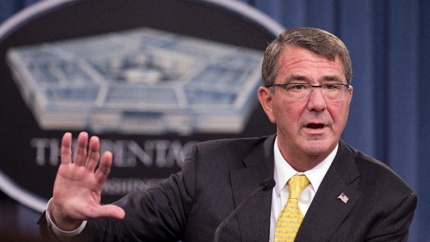 "Defense Secretary Ash Carter speaks during a news conference at the Pentagon, Thursday, Aug. 20, 2015. Carter said Turkey should contribute more to the international fight against the Islamic State, saying that even after granting the U.S. military permission to fly combat missions out of Turkey air bases, the Turkish government needs to ""do more."" (AP Photo/Manuel Balce Ceneta)"
