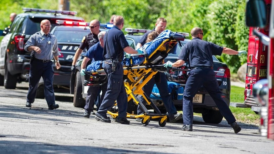 In this May 31, 2014 photo rescue workers take 12-year-old stabbing victim Payton Leutner to an ambulance in Waukesha, Wis. Two 13-year-old Wisconsin girls accused of stabbing Leutner to please online horror character Slender Man pleaded not guilty Friday. (AP)