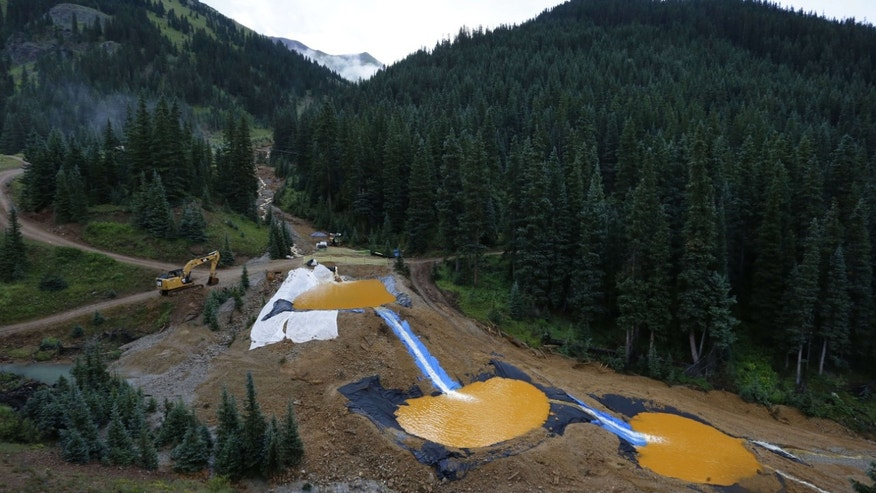 Aug. 12, 2015: Water flows through a series of retention ponds built to contain and filter out heavy metals and chemicals from the Gold King mine chemical accident, in the spillway about 1/4 mile downstream from the mine, outside Silverton, Colo.