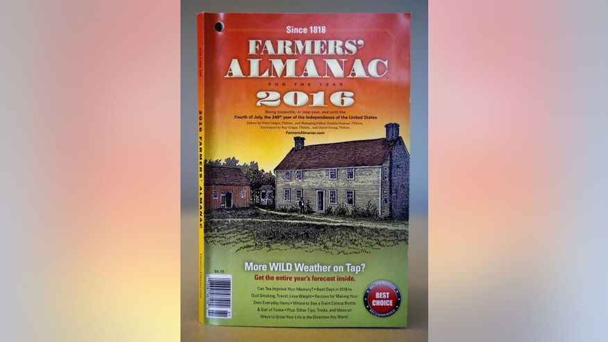 """FILE - This is a copy of the 2016 Farmer's Almanac, photographed in Portland, Maine, Friday, Aug. 14, 2015. The editors of the Maine-based publication have dubbed their latest forecast a """"winter deja vu,"""" hearkening to last winter's misery across the Northeast (AP Photo/Robert F. Bukaty, File)"""