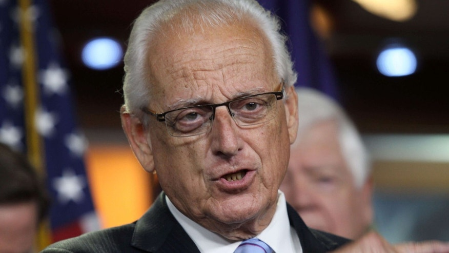 June 16, 2015: Rep. Bill Pascrell, D-N.J., accompanied by fellow House Democrats, gestures during a news conference on Capitol Hill in Washington.