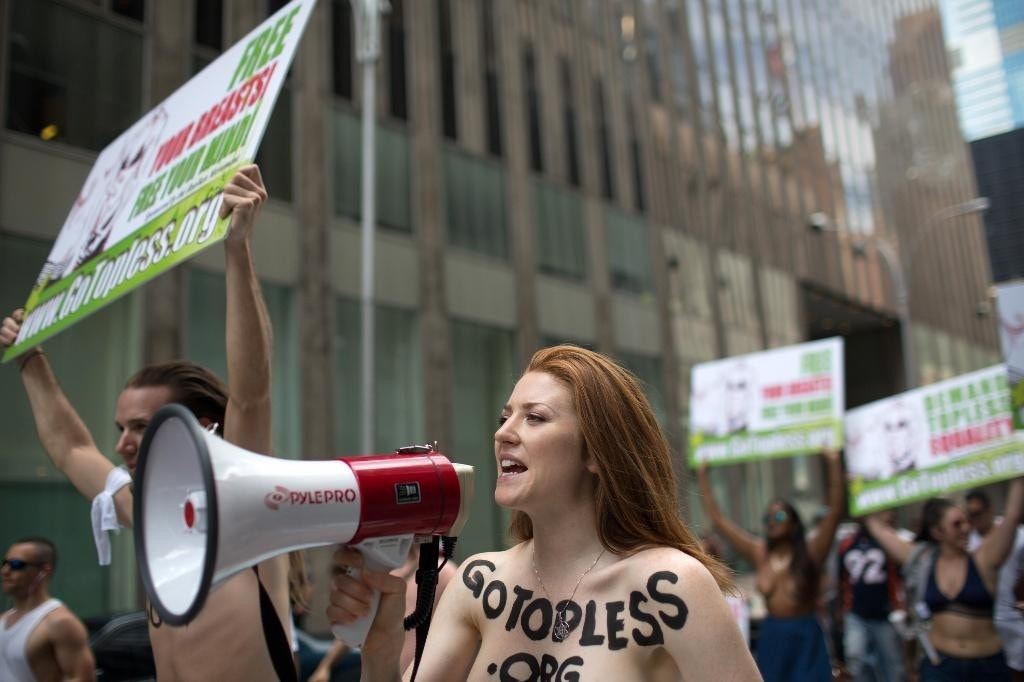 NY stages topless parade with 60 cities worldwide, demanding bare-chest gender equality