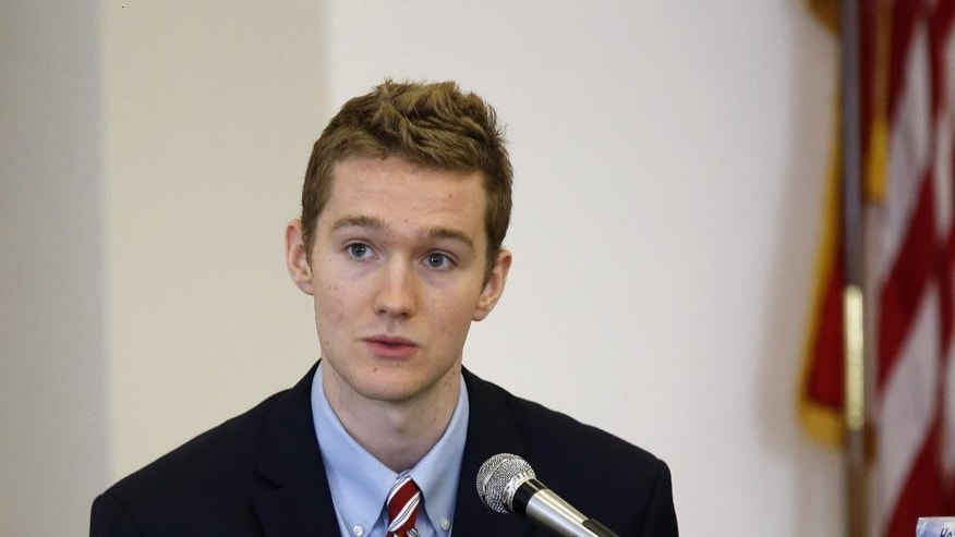 "Former St. Paul's School student Andrew Thomas testifies Monday, Aug. 24, 2015, during the trial of Owen Labrie at the Merrimack County Superior Court Concord, N.H.  Labrie is charged with raping a 15-year-old freshman in 2014 as part of the ""Senior Salute,"" a practice of sexual conquest at the prestigious St. Paul's School in Concord. (AP Photo/Jim Cole, Pool)"