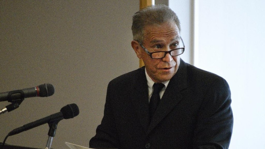 Peco Chavez speaks on historical documents related to Sister Blandina Segale during a hearing at the Catholic Center in Albuquerque, N.M. on Tuesday, Aug. 25, 2015, about possible Sainthood for Segale. The Italian-born nun who challenged Billy the Kid, calmed angry mobs and helped open New Mexico territory hospitals and schools faced her first test for sainthood during the panel's first inquiry. (AP Photo/Russell Contreras)