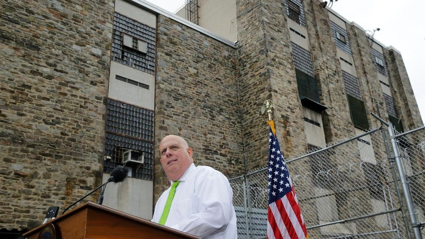 FILE - In this July 30, 2015, file photo, Maryland Gov. Larry Hogan speaks at Baltimore City Detention Center in Baltimore, to announce his plan to immediately shut down the jail. Maryland moved the last inmates out of the dangerously decrepit men's section of the detention center on Tuesday, Aug. 25, state officials said, completing the closure of the notorious facility. (AP Photo/Patrick Semansky, File)