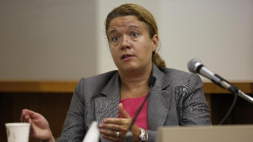 "Concord police Detective Julie Curtin testifies about her interview with St. Paul's School student Owen Labrie in Merrimack County Superior Court Tuesday, Aug. 25, 2015, in Concord, N.H.  Labrie is charged with raping a 15-year-old freshman in 2014 as part of the ""Senior Salute,"" a practice of sexual conquest at the prestigious St. Paul's School in Concord. (AP Photo/Jim Cole, Pool)"
