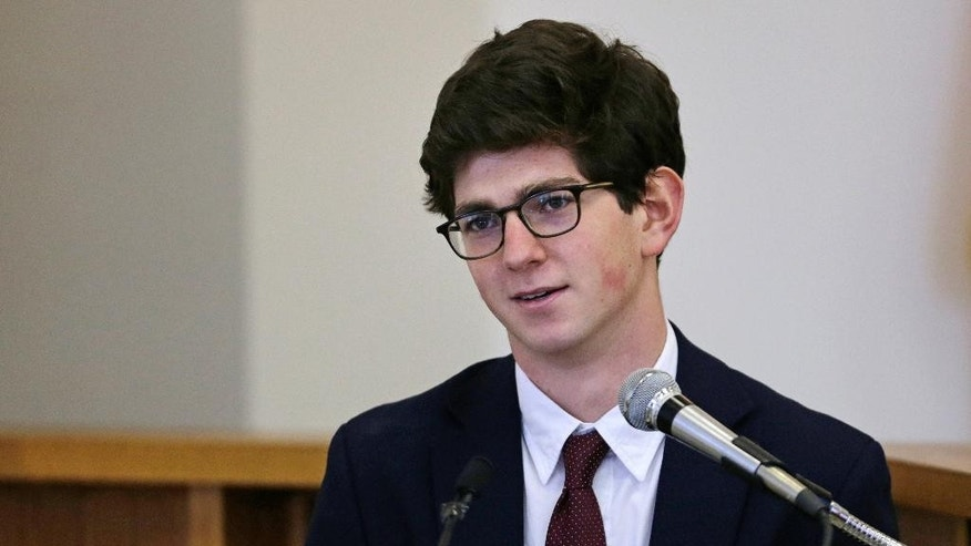 Former St. Paul's School student Owen Labrie testifies in his trial at Merrimack Superior Court in Concord, N.H., Wednesday, Aug. 26, 2015. Labrie is charged with raping a 15-year-old freshman as part of Senior Salute, in which seniors try to romance and have intercourse with underclassmen before leaving the prestigious St. Paul's School in Concord. The defense contends the two had consensual sexual contact but not intercourse. (AP Photo/Charles Krupa, Pool)