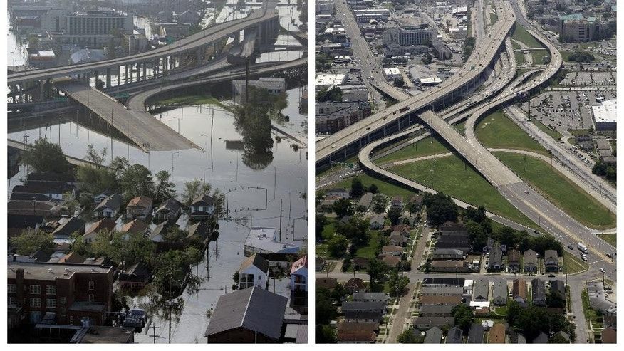 This combination of Aug. 30, 2005 and July 29, 2015 aerial photos show the Mid City and Palmetto areas of New Orleans flooded by Hurricane Katrina and the same area a decade later. The storm went down in history as the costliest natural disaster to strike the U.S., with $150 billion in damages to homes and other property. It was also one of the deadliest - nearly 2,000 died. (AP Photo/David J. Phillip, Gerald Herbert)