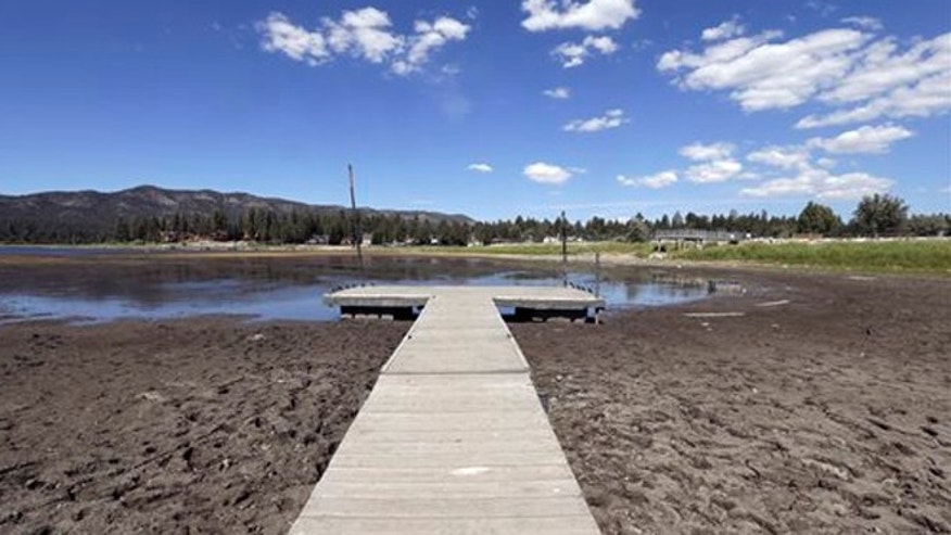 Aug. 24, 2015: This photo shows the lake bed where water has dried due to the drought at Big Bear Lake, Calif.