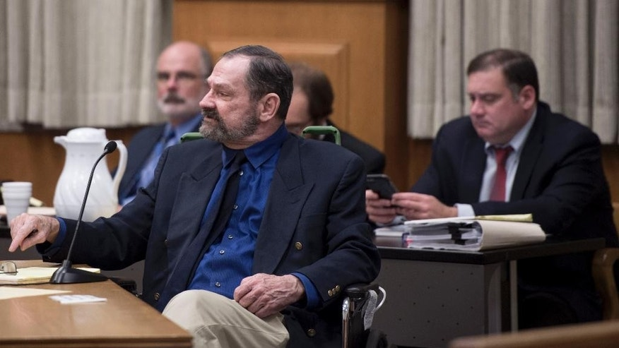 Frazier Glenn Miller Jr. argues with the court while requesting a continuance during his capital murder trial in the Johnson County Courthouse on Thursday, Aug. 27, 2015, in Olathe, Kansas. Miller is charged with the April 13, 2014 shooting deaths of three people outside of  Overland Park Jewish facilities  in suburban Kansas City.  (Shane Keyser /The Kansas City Star via AP, Pool)