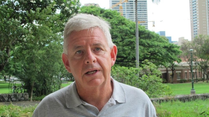 "Dan Dennison, a former news director at WDBJ-TV in Roanoke, Va., speaks in Honolulu, Thursday, Aug. 27, 2015. Dennison said Thursday the former employee, Vester Flanagan, who shot two ex-colleagues on live television had a long history of being a ""professional victim."" (AP Photo/Audrey McAvoy)"