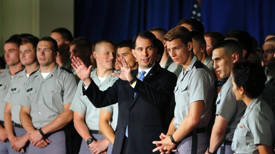 Republican presidential candidate Wisconsin Gov. Scott Walker delivers a foreign policy speech on the campus of The Citadel, Friday, Aug. 28, 2015, in Charleston, S.C. (AP Photo/Mic Smith)