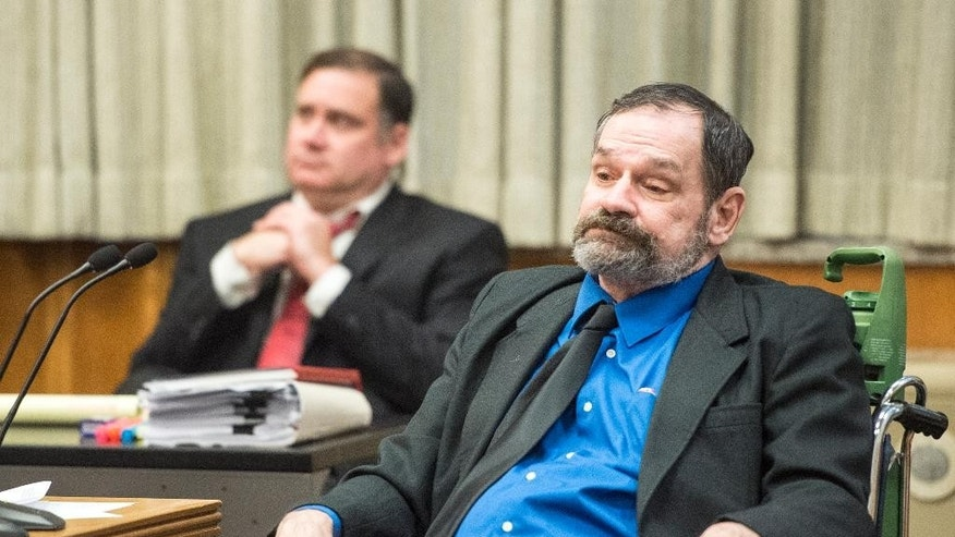 Frazier Glenn Miller looks on after being found guilty of one count of capital murder, three counts of attempted murder and assault and weapons charges on Monday, Aug. 31, 2015, in the Johnson County Courthouse in Olathe, Kan. (Allison Long/The Kansas City Star via AP, Pool)