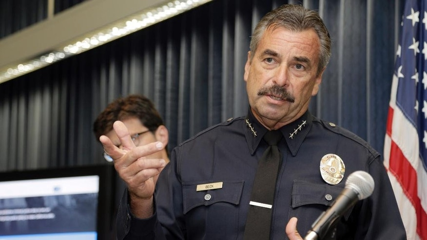 Los Angeles Police Chief  Charlie Beck speaks during a news conference in Los Angeles, Wednesday, Sept. 2, 2015. The California Department of Justice unveiled a state-run website to provide data on law enforcement's interactions with the public. The database is the culmination of months of work aimed at improving transparency and government accountability after incidents sparked debate across the country on police practices over the last year. (AP Photo/Nick Ut)