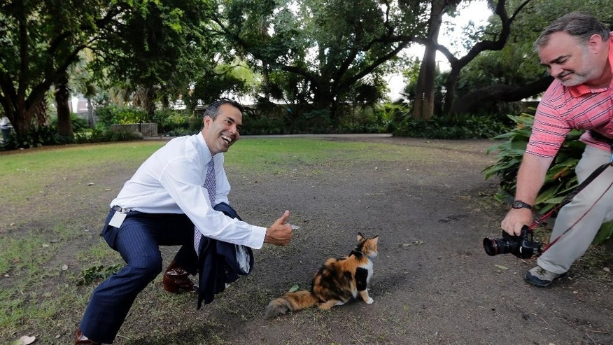 Texas Land Commissioner George P. Bush, left, poses with Bella the official Alamo cat following a news conference, Wednesday, Sept. 2, 2015, in San Antonio, to celebrate the $31.5 million the General Land Office received for the preservation and development of the Alamo.  (AP Photo/Eric Gay)