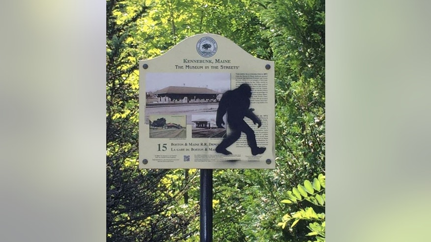 This Aug. 19, 2015 photo provided by the Kennebunk Police Department shows an graffiti on a sign in Kennebunk, Maine. Authorities have nabbed a man who's accused of spray-painting images of Sasquatch on public property in Kennebunk, Maine. Police in the picturesque coastal town didn't find the graffiti featuring Bigfoot all that amusing and charged 36-year-old Freeman Hatch with criminal mischief and possession of drugs. (Det. Stephen M. Borst, Kennebunk Police Department via AP)
