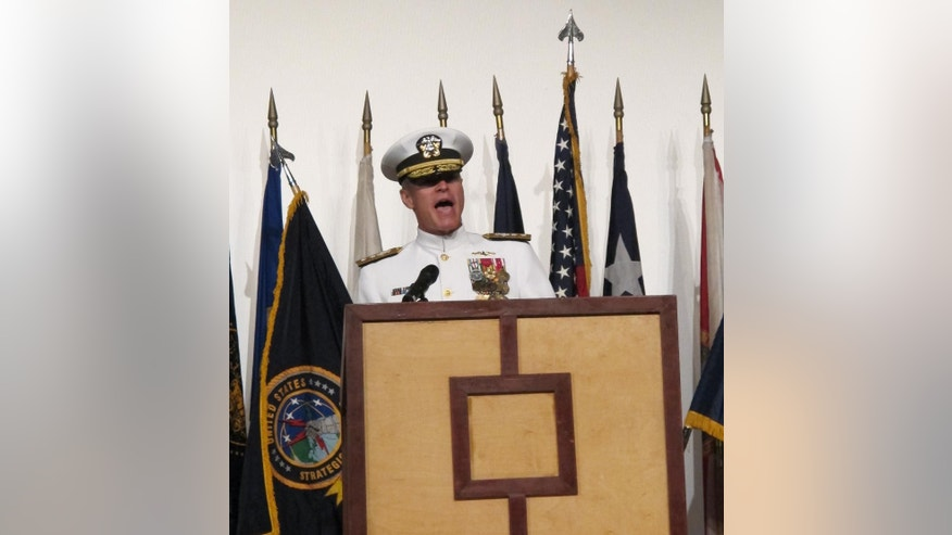 Rear Adm. Frederick Roegge speaks at a change of command ceremony in Pearl Harbor, Hawaii on Thursday, Sept. 3, 2015. Roegge took over from Rear Adm. Phillip Sawyer as the commander of the U.S. Pacific Fleet's submarine force during the ceremony. (AP Photo/Audrey McAvoy)