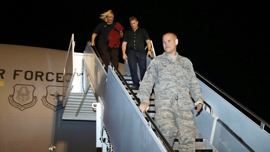 Sept. 3, 2015: U.S. Air Force Airman 1st Class Spencer Stone, one of three Americans that tackled a heavily armed gunman on a Paris-bound train, arrives at Travis Air Force Base in Fairfield, Calif.